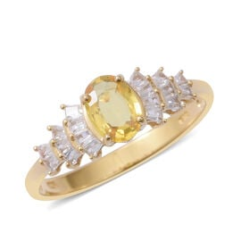 Chanthaburi Yellow Sapphire (Ovl 1.00 Ct), Natural Cambodian White Zircon Ring in Sterling Silver 1.