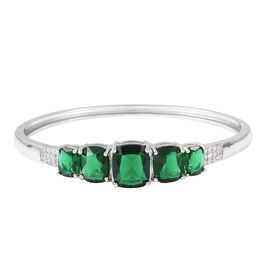Simulated Emerald and Simulated Diamond 5 Stone Bangle in Silver Tone 8.25 Inch
