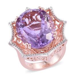 17 Carat AA Rose De France Amethyst Halo Ring in Sterling Silver 10.37 Grams