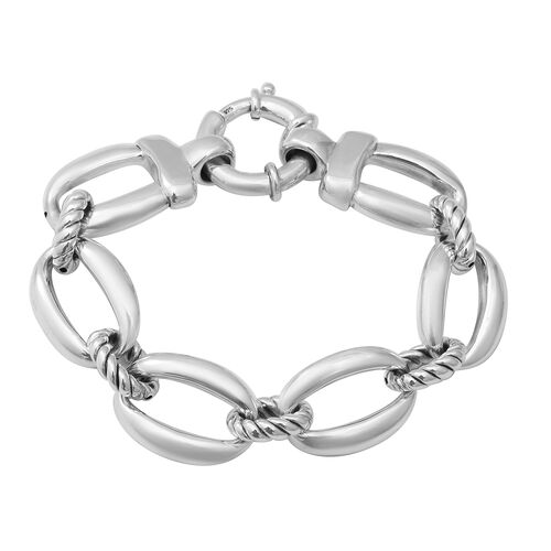 Link Chain Bracelet with Senorita Clasp in Sterling Silver 22.55 Grams 7.75 Inch