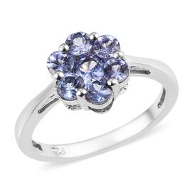 Tanzanite (Rnd) Ring in Platinum Overlay Sterling Silver 1.00 Ct.