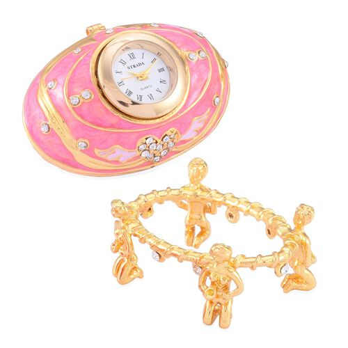 AAA White Austrian Crystal Studded Rose Pink and Light Pink Enameled Egg Shape Jewellery Box with a Clock Mounted on Top in Gold Tone