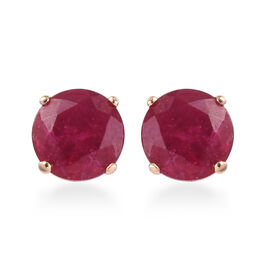 9K Yellow Gold African Ruby Stud Earrings (with Push Back) 2.00 Ct.
