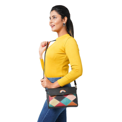 100% Genuine Leather Crossbody Bag with Flap (Size 23x5x18cm) - Black and Multi Colour