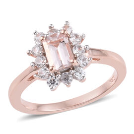 Marropino Morganite (Oct), Natural Cambodian Zircon Ring in Rose Gold Overlay Sterling Silver 1.00 C