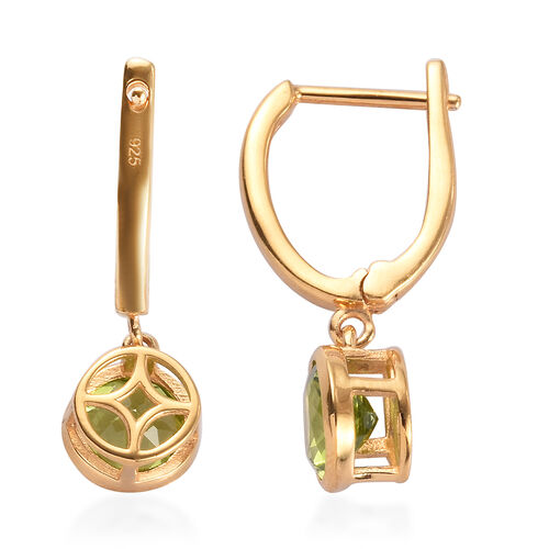 Hebei Peridot Drop Earrings (with Clasp) in 14K Gold Overlay Sterling Silver 2.75 Ct.