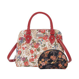 Signare Tapestry V&A Flower Meadow Collection - Top Handle Handbag with Adjustable Shoulder Strap
