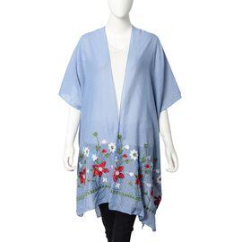 Floral Embroidery Kimono with Dot Pattern (Size 90x90 Cm) - Blue Colour