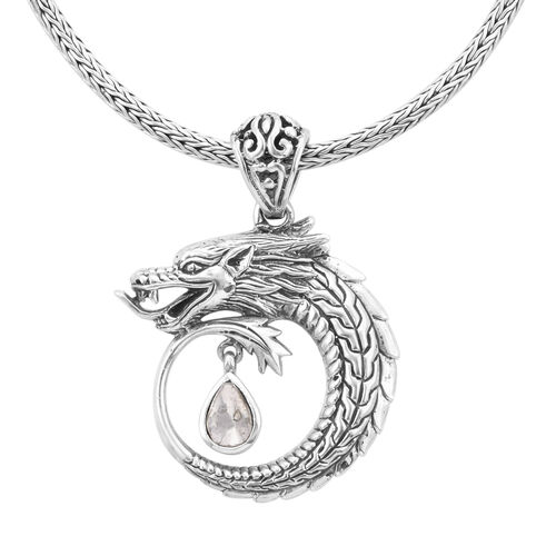 Royal Bali Collection - Polki Diamond Dragon Necklace (Size 20) in Sterling Silver 0.50 Ct., Silver wt 25.31 Gms.