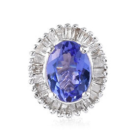 Tanzanite and Diamond Halo Pendant in Platinum Overlay Sterling Silver 1.000  Ct.
