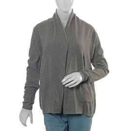 80% Lamb Wool and 20% Nylon Graphite Melange Waterfall Cardigan (Size 70x52.7 Cm)