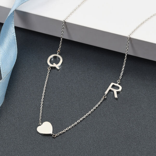 Personalised Two Alphabet Stunning Necklace in Silver, Size 18+2 Inch