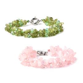 Set of 2 - Rose Quartz, Hebei Peridot, Green and Pink Colour Beads Bracelet (Size 7.75) with Senorit