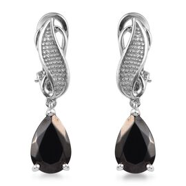 3.50 Ct Elite Shungite Drop Earring in Platinum Plated Sterling Silver 5.70 Grams