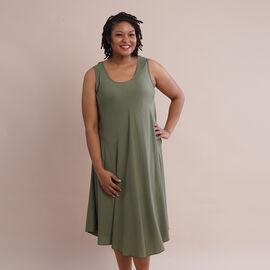 JOVIE 100% Viscose Solid Sleeveless Dress (Size 60x112Cm) - Green