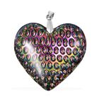 Multi Colour Glass Heart Pendant in Sterling Silver