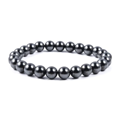 7-9mm Hematite Beaded Stretchable Bracelet Size 7 inch 354 Ct