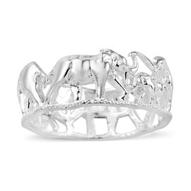 Hand Texture Elephants Band Ring in Sterling Silver