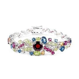 Designer Inspired- Mozambique Garnet and Multi Gemstone Bracelet (Size 7.5) in Rhodium Overlay Sterl