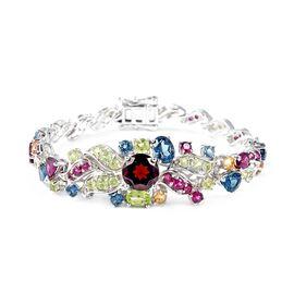 Designer Inspired- Mozambique Garnet and Multi Gemstone Bracelet (Size 6.75) in Rhodium Overlay Ster