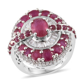 6.75 Ct African Ruby and Zircon Cluster Ring in Platinum Plated Silver 9.70 Grams