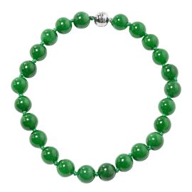 Very Rare AAA Burmese Jade Necklace (Size 20) (Rnd 15-17 mm) with Magnetic Clasp in Rhodium Plated S