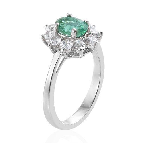 Kagem Zambian Emerald (Ovl) Natural Cambodian Zircon Sunburst Ring in Platinum Overlay Sterling Silver 1.500 Ct.