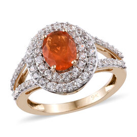 9K Yellow Gold AAA Jalisco Fire Opal (Ovl), Natural Cambodian Zircon Ring (Size M) 2.00 Ct.