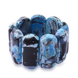 Rare Size Blue Multi Agate (Cush 46x22 mm) Stretchable Bracelet (Size 7) 1039.000 Ct.