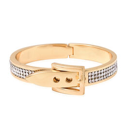 White Austrian Crystal (Rnd) Belt Buckle Bangle (Size 6.5) in Yellow Gold Tone