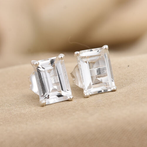 White Topaz Stud Earrings (with Push Back) in Sterling Silver 2.25 Ct.