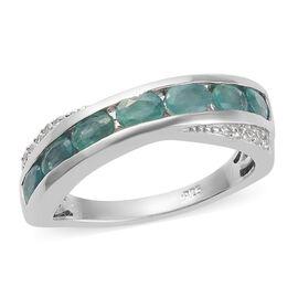 Zircon, Grandidierite 7 Stone Look Ring in Platinum Overlay Sterling Silver 0.26 ct  1.110  Ct.