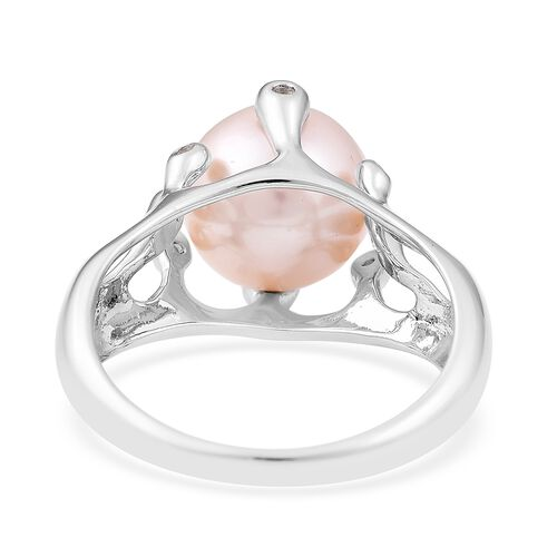 LucyQ White Edison Pearl (Rnd 10-10.5 mm), White Topaz Ring in Rhodium Overlay Sterling Silver
