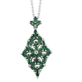 AA Kagem Zambian Emerald (Mrq), Natural Cambodian Zircon Pendant With Chain in Platinum Overlay Sterling Silver 2.050 Ct.