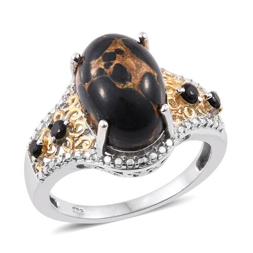 Arizona Mojave Black Turquoise (Ovl 6.30 Ct), Boi Ploi Black Spinel Ring in Platinum and Yellow Gold