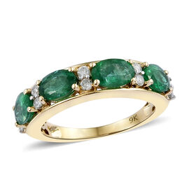 2 Carat Kagem Zambian Emerald and Diamond Half Eternity Ring in 9K Gold