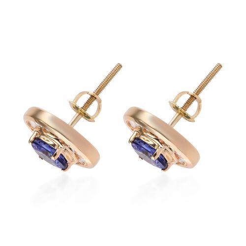 ILIANA 18K Yellow Gold AAA Tanzanite (Rnd), Diamond Earrings (with Screw Back) 1.750 Ct.