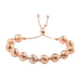 Rose Gold Overlay Sterling Silver Adjustable Beads Bracelet (Size 6.5-8.0), Silver wt 11.73 Gms