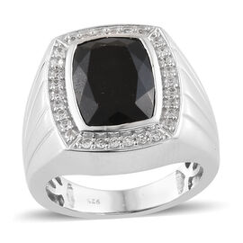 Black Tourmaline (Cush 7.00 Ct), Natural Cambodian Zircon Ring in Platinum Overlay Sterling Silver 8