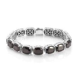 13 Carat Elite Shungite Station Bracelet in Platinum Plated Sterling Silver 7.5 Inch