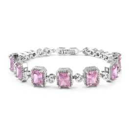 Simulated Pink Sapphire and Simulated Diamond Vintage Design Bracelet 7.5 Inch