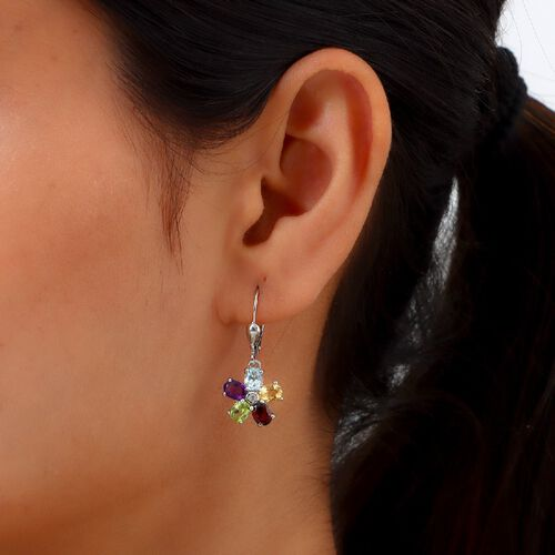 Multi gemstones Cluster Earring in Platinum Overlay Sterling Silver 0.79 ct  3.325  Ct.
