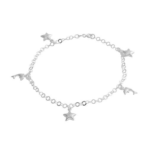 Sterling Silver Anklet (Size 10) with Star and Fish Charm, Silver wt 4.30 Gms.