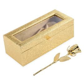 Valentine Special- Gold Plated Eternal Rose (Size 15 Cm) in Golden Box (Size 23x8 Cm)