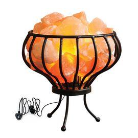 Himalayan Salt Crystal Chunks Lamp with Metal Basket (Size 18x15 Cm) - Pink 3 Kg (6.6 Lbs)