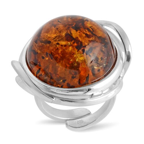 Baltic Amber Adjustable Solitaire Ring in Sterling Silver 11 Grams