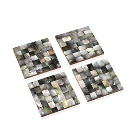 Set of 4 - Mother of Pearl Coaster with Wooden Base (Size 10x10 Cm) - Grey