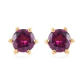 Purple Garnet (Rnd) Stud Earrings (with Push Back) in 14K Gold Overlay Sterling Silver 1.25 Ct.