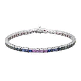 Collectors Edition- Rainbow Sapphire (Princess Cut) Channel Set Bracelet (Size 7) Rhodium Plated Ste