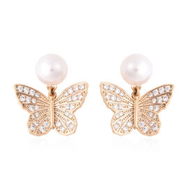 Simulated Pearl and Simulated Diamond Butterfly Drop Earrings in Yellow Gold Tone